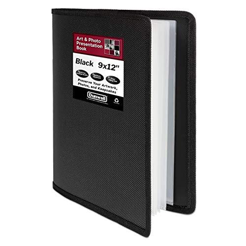 """Dunwell Art Portfolio 9x12 Folder - (Black, 1 Pack), Portfolio Folder for Artwork, Presentation Book with 9 x 12"""" Sheet Protectors, 24 Pockets Display 48 Pages, Binder for Kids Art, Drawing Binder"""