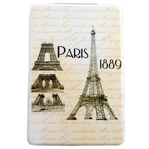 Les Trésors De Lily [Q3112] - Miroir de poche 'Paris 1889' beige marron - 8.5x5.5 cm