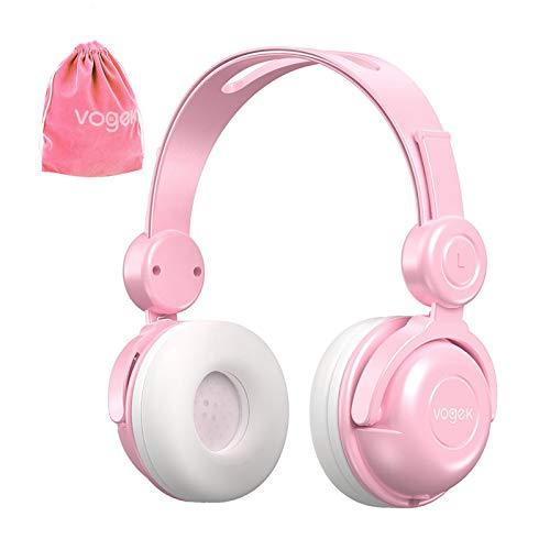 Kinderkopfhörer mit Tasche, Vogek-kabelgebundenes On-Ear-Kinder-Headset mit Mikrofon, HD-Sound-Sharing-Funktion und 85-dB-Gehörschutz für Telefon-Tablet-PC Kindle (Pink)