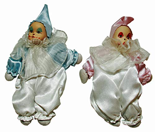 Two Clown Porcelain Dolls 6 Inches Pink, Blue, It is Perfect for Collector