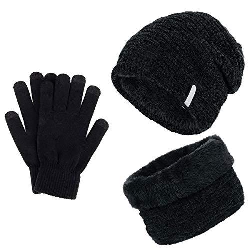 TedGem Cappello Uomo Invernali in Maglia con Sciarpa, Berretto Uomo in Maglia per Inverno Caldo Cappello Beanie con Sciarpa (3 Pezzi)