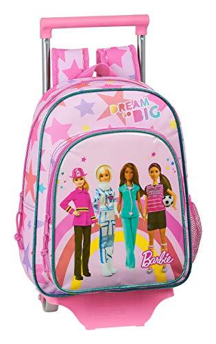 safta 612010020 Mochila pequeña Ruedas, Carro, Trolley Barbie, Rosa