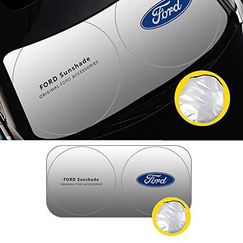 L&U Parabrisas del Coche Parasol, bloquea los Rayos UV, Plegable Parasol Protector para Ford Focus Mondeo S-MAX Explorador Fiesta Mustang Kuga, etc,160 * 85cm