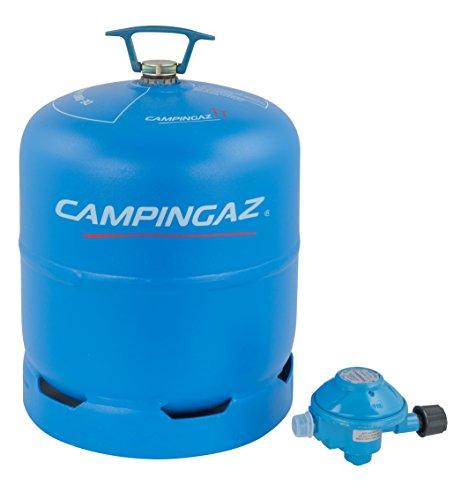 Campingaz R907 leere Butan Gasflasche, 2.75 Kg Fassungsvermögen, inkl. 50 mBar Druckregler, geeignet für alle zweiflammigen Campingkocher
