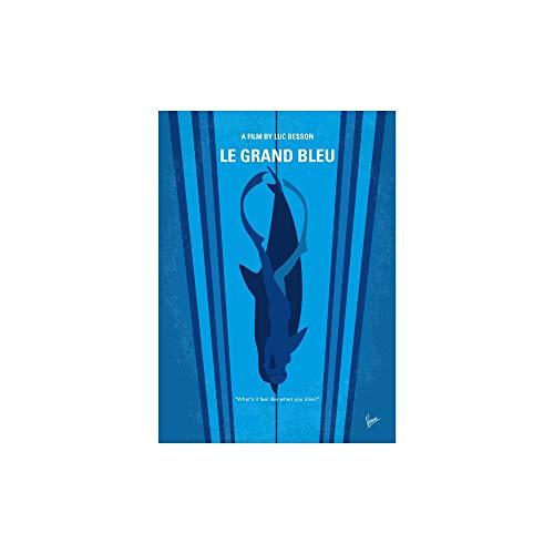 Caronzamson No577 My Big Blue Minimal Movie Poster Le Grand bleu. (12' x 18') Deluxe Portrait Canvas Wall Art Decoration Kitchen Office Decor 144670