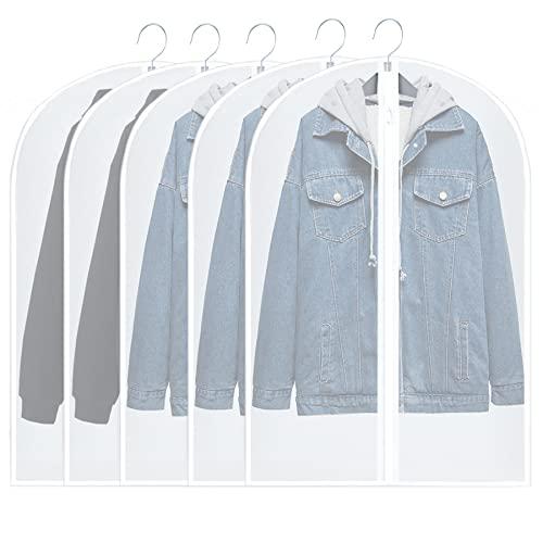 UDEAR Kleidersack Anzug,Transparent Staubschutz mit Reißverschluss,für Anzüge Mäntel Sakkos Abendkleider,5er Pack (24'x40'inch/60x100cm)