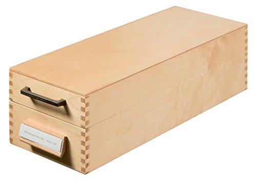 HAN Holz-Karteikasten DIN A7 quer – hochwertige Erbstück-Qualität. Mit Beschriftungsfeld, Metallstütze und Metallboden. Für 1.500 Karteikarten, Farbe Naturholz, 1007