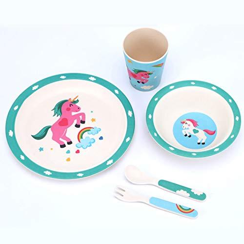 ZT Set vajilla Infantil de bambú sin BPA, 5 Piezas, Servicio de Mesa cubertería para niños Vaso de Beber Plato para niños, Ecológico y Biodegradable. (Unicornio 2)