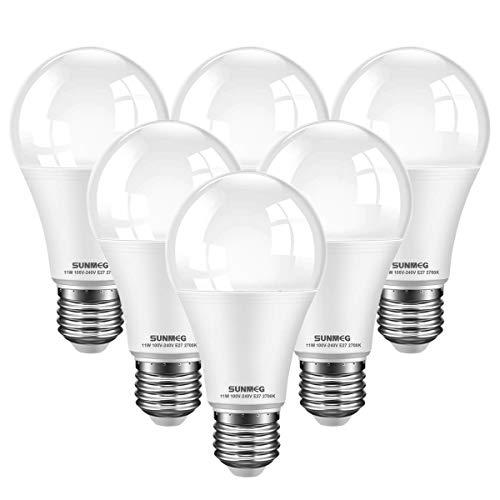 E27 LED Lampe, 11W (ersetzt 100W) Glühbirne, A60 Leuchtmittel, Warmweiß 2700K, 1000 Lumen, Nicht Dimmbar, 6er-Pack [Energieklasse A+]
