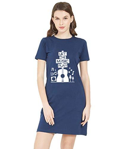 Caseria Women's Cotton Biowash Graphic Printed T-Shirt Dress – Let The Music Play