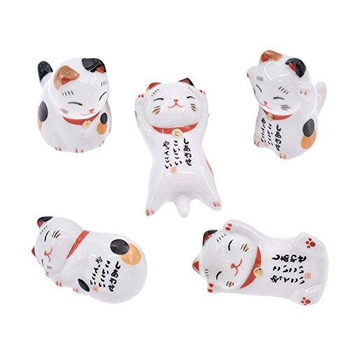 NNNKO 5 UNIDS afortunados gatos hechos de cerámica deco buena suerte amentos catkins palillos banco gatos galletas Maneki Neko decoración de la cocina de cerámica