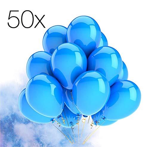 TK Gruppe Timo Klingler 50x Luftballons blau Ø 35 cm - Helium geeignet für Geburtstag & Hochzeit & Party Deko Dekoration zur Befüllung mit Ballongas (blau)