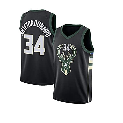 Maglia NBA, Top Senza Maniche da Basket Swingman, Abbigliamento Sportivo Outdoor, Uniforme da Tifoso #34 Bucks