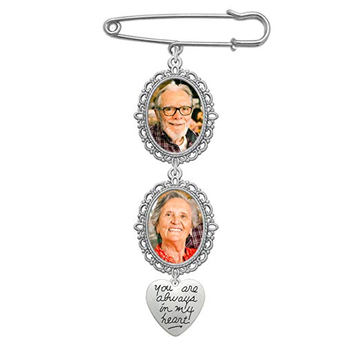 Wedding Bouquet Photo Charm Double Lacy Oval Frame Bridal Charm Walk Down The Aisle You are Always in My Heart Easy to Make Parents Grandparents