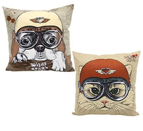 Montanchezz - Set di 2 federe per cuscino, 45 x 45 cm, con stampa digitale, effetto seta, stile moderno, Throw Pillow Case, Unisex - Adulto, Cane occhiali