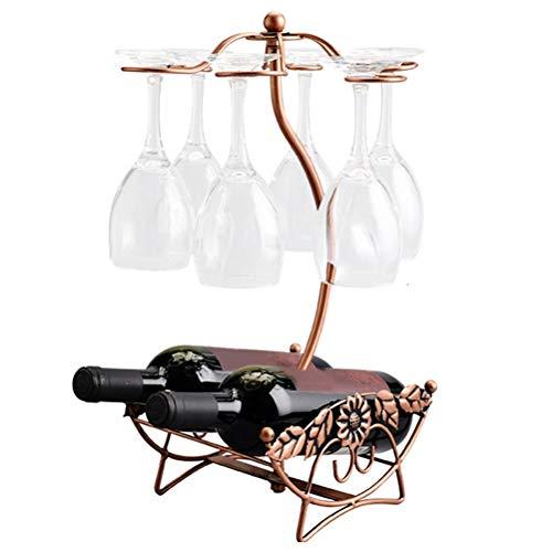 Yousiju Estante de Vino Hueco de Hoja de Arce de Alambre de Hierro, Soporte para Colgar Vasos para Beber, Estante para Copas, Estante para Botella de Vino y Soporte para Vasos de Vidrio, exhibición