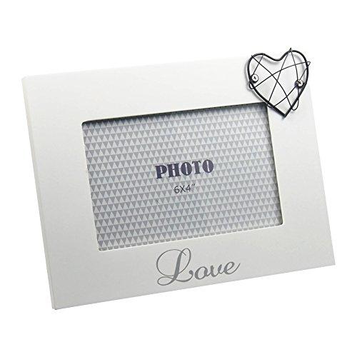 Cadre photo design Love avec cœur blanc mat laqué env. 21 x 16 cm pour photos 15 x 10 cm