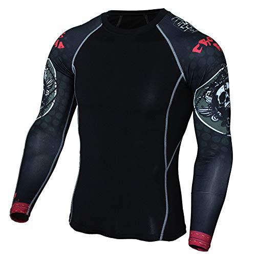 GUOCU Maglia Termica Uomo, Leggero T-Shirt Manica Lunga Maglie Termiche Invernali Da Sport Compression Baselayer Per Corsa Ciclismo Calcio,Nero,3XL