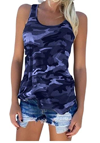 CuteRose Women Sleeve Vest Shirt All-Match Summer Camouflage T Shirts Top Navy Blue 3XL