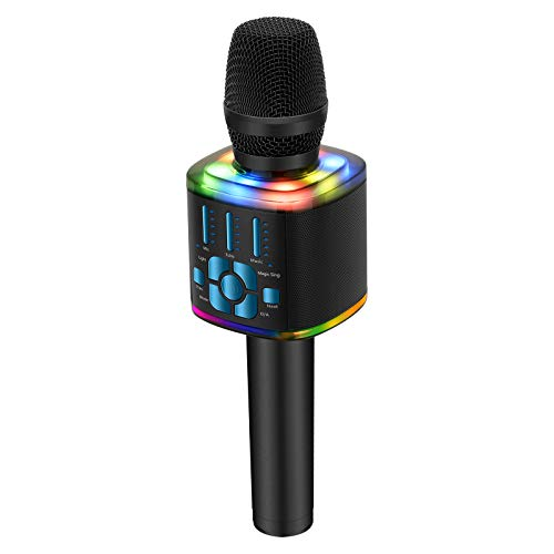 BONAOK 2020 Wireless Bluetooth Karaoke Microphone, Magic Voice Portable Handheld Mic Karaoke Machine Christmas Home Party Birthday Presentations for iPhone/Android/iPad/PC/All Smartphones (Blue)