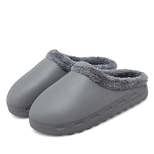 Unisex Cozee Slippers, Waterproof Pillow Slide Slippers, Non-Slip Massage Foam Slippers, Soft Comfortable Eva Bottom Indoor Warm Plush Slippers (Gray,41-42)