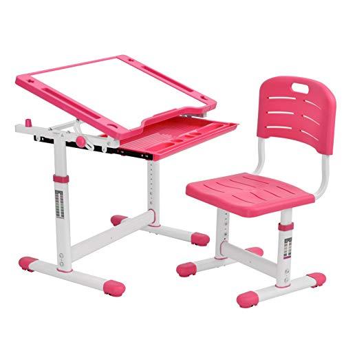Escritorio infantil regulable en altura, escritorio infantil con silla, cajones, escritorio para niños y niñas, mesa basculante con bandeja, cajón, soporte para libros (azul y blanco)