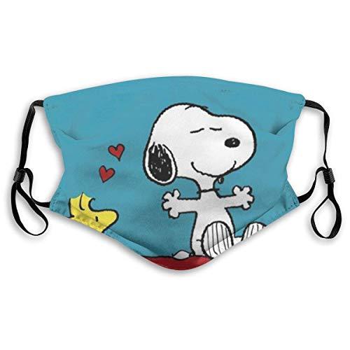 OPQRSTQ-O Unisex Nasenclip Gesichtsmundabdeckung 3D-Druck Atmungsaktiver Staub Wiederverwendbarer Snoopy und Woodstock Erwachsene Einstellbarer Mundschutz Mundschutz Winddichte Halbgesichtsbandanas