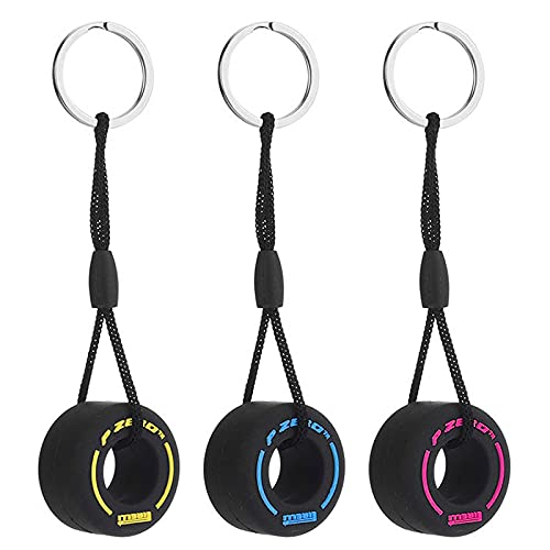 LuLyL Mini 3Pcs Portachiavi per pneumatici in gomma Portachiavi per ruote creativi Ciondolo per personalità Portachiavi in gomma morbida Accessori per la decorazione dell'auto