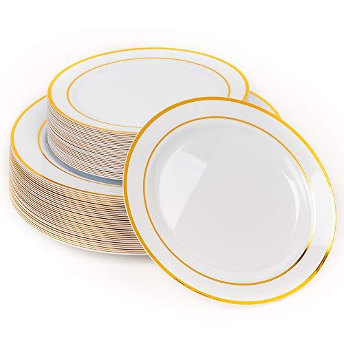 60 Elegante Platos Plástico Duro Desechables con Borde Dorado, 2 Tamaños (30 Platos Grandes y 30 Platos Ensalada Postre) - Lavable & Reutilizable - Vajilla Desechables para Catering Bodas Fiestas.