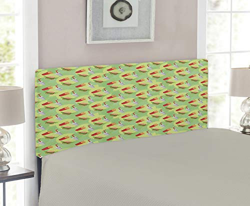 Lunarable Food Headboard, Hamburger French Fries and Drink Pattern on an Abstract Colorful Circles Background, Upholstered Decorative Metal Headboard with Memory Foam, for Twin Size Bed, Multicolor