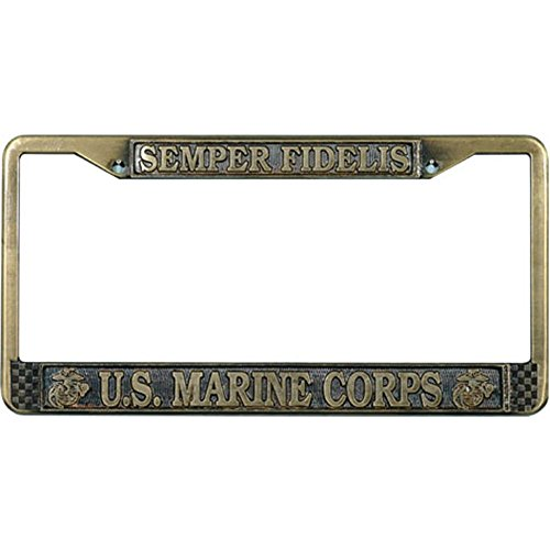 U.S. Marines License Plate Frame (Antique Brass Plated)