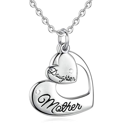 EUDORA Mother and Daughter Necklace, Bithstone Double Heart 925 Sterling Silver Pendant Necklace for Women Jewelry Mothers Day Mummy Gifts, 18inch Chain