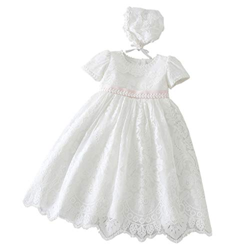 Baby Girls Embroidered Empire Waist Christening Gown Baptism Dress...