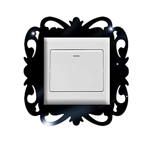 Hotaden Interruptor extraíble engomada de la Foto Marco de la exhibición del Interruptor de la decoración del hogar Pegatinas de Pared de acrílico Espejo Cuadrado luz Manera Pegatinas
