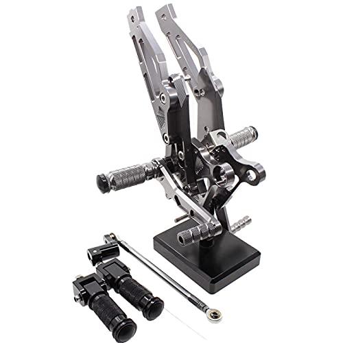 QOHFLD Juego de reposapiés Trasero Ajustable Trasero de Motocicleta de Aluminio CNC, para Grom MSX125 MSX 125 2012 2013 2014 2015