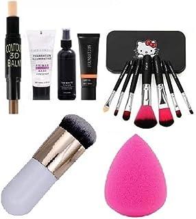 BTN Face Makeup with 07 Face Brush Multitype + 01 Face Matte Fixer + 01 Base Primer +01 Controler Stick +01 Foundation Bru...