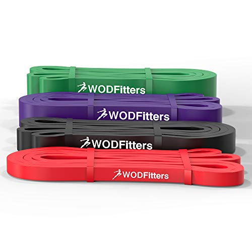 WODFitters Stretch Resistance Pull Up Assist Band with eGuide, 4 Band Set Special