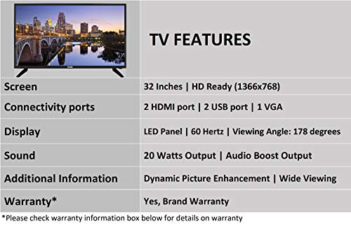 Kodak 80 cm (32 Inches) HD Ready LED TV Kodak 32HDX900S (Black)