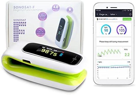 Oxímetro de frecuencia de pulso de la yema del dedo Konsung y monitor de nivel de saturación de oxígeno en sangre SpO2 con aplicación gratuita Bluetooth para teléfono Android
