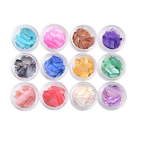 Beaupretty 12 boîtes bricolage manucure pasters nail art décorations ongles ornements nail shell tranches pour femmes filles étudiantes