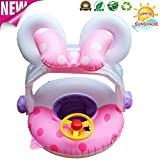 Better men Baby Pool Inflatable Swimming Floats Ring Toy, 5-48 Months Baby Pools with Canopy floates Adjustable Sun Shade Outdoor Swimming Ring (Pink)