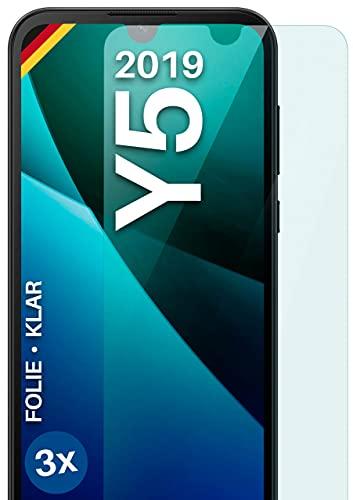moex Klare Schutzfolie kompatibel mit Huawei Y5 (2019) - Bildschirmfolie kristallklar, HD Bildschirmschutz, dünne Kratzfeste Folie, 3X Stück