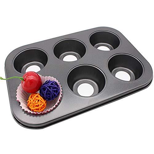 Muffins Backform mit Abnehmbarem Boden Antihaft Backblech 6-Cavity Profi Muffinblech Perfekt für Jumbo Muffins, Cupcakes, Mini-Kuchen, Puds,Schwarz