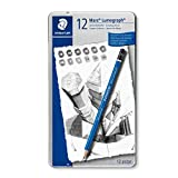Staedtler Mars Lumograph Art Drawing Pencils, 12 Pack Graphite Pencils in Metal Case, Break-Resistant Bonded Lead, 100...
