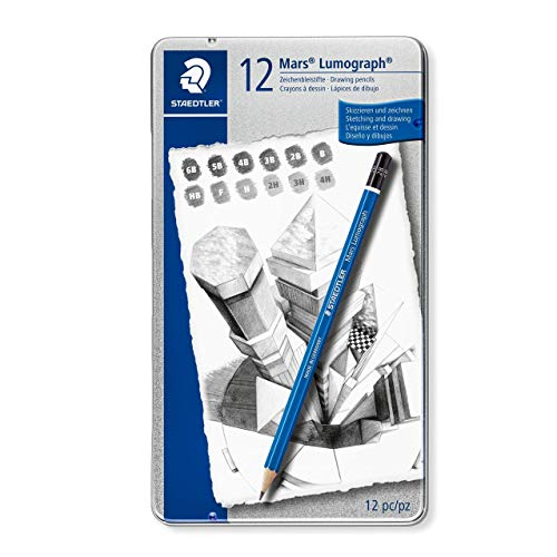 Staedtler Mars Lumograph Art Drawing Pencils, 12 Pack Graphite Pencils in Metal Case, Break-Resistant Bonded Lead, 100 G12