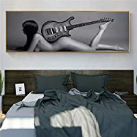 灰色のセクシーな裸の女性とギターのキャンバス絵画ポスターとプリント壁アート現代の裸の女の子の写真家の装飾-50x150cmフレームなし
