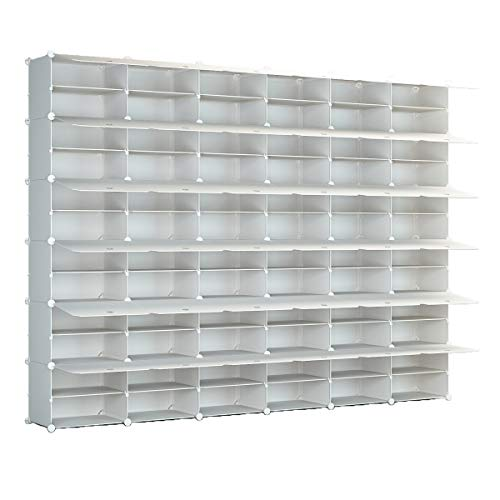 KOUSI Portable Shoe Rack Organizer 72 Grids Tower Shelf Storage Cabinet Stand Expandable for Heels Boots Slippers White