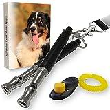 Villkin 2X Hundepfeife +Bonus: Hunde-clicker, Schlüsselband und E-Book - Kontrolle erlangen und Bellen stoppen - Schwarz/Silber mit Einstellbarer Frequenz