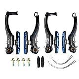 CNC 2 Pares Freno V-Brake de Bicicleta, Juego de Frenos V Brake con Pastillas 70mm, Negro/Azul