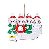 Wooden Teether 名入れできるクリスマス飾り サンタクロース 可愛い おしゃれ 木製 オーナメント プレゼント ギフト 吊り飾り インテリア飾り クリスマスマスク 壁掛け 装飾 クリスマスツリー装飾ペンダント #4